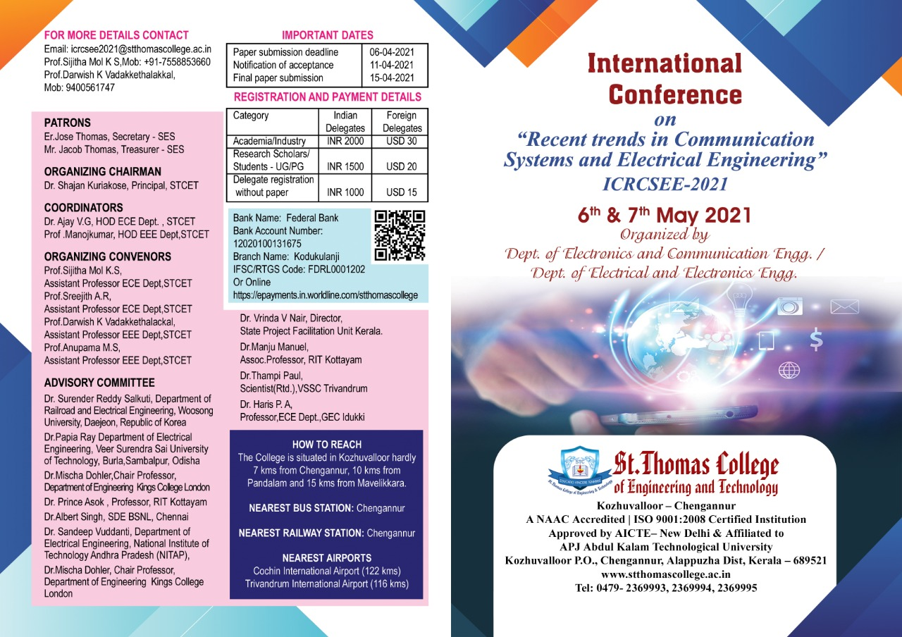 """International Conference on """"Recent trends in Communication systems and Electrical Engineering"""""""